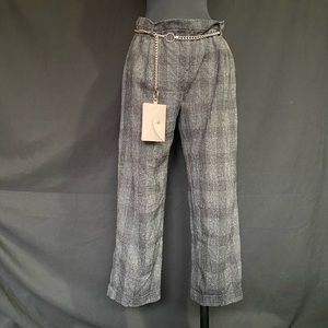 Plaid trousers w chain wallet
